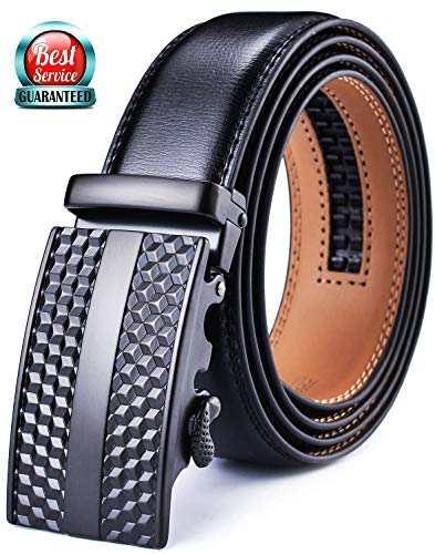 Mens Belt, DCFlat Adjustable Automsatic Buckle Ratchet Genuine Leather & Single Prong Buckle Belts for Men, Enclosed in an Box (D-Black-2, Waist:36-43) (B-black-2, Waist:36-43)
