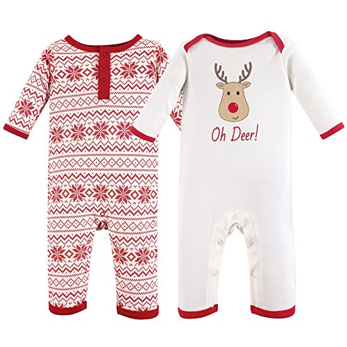 Hudson Baby Cotton Union Suit, 2 Pack, Reindeer, 12-18 Months (18M)