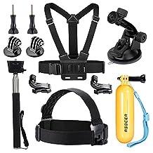 ASOCEA Accessories Kit Bundle for Gopro Hero 5 Black Hero 4 Silver 1080P 4K Waterproof Action Camera Include Selfie Stick+Floating Hand Grip+Suction Cup Mount+Chest Belt+Head Belt