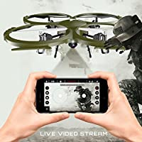 Kolibri Delta-Recon HD Camera Drone with FPV App Video Stream,2 Batteries for Longer Flight Time, Altitude Hold, Headless Mode, Auto Take-Off & Landing. Quadcopter for Beginners Model:U818A-WIFI  from Kolibri