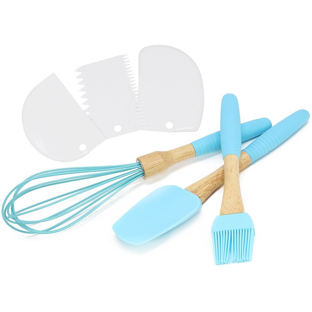 COM-FOUR® Set da 6 pezzi per cottura e cucina in silicone in legno blu e gomma, con frusta, pennello da cucina e spatola (06-parte - blu)