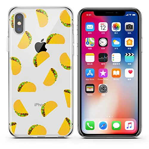 (FoxyCases Compatible with iPhone X / Xs, tacos cat goat cheese pizza bell sauce chef taco lovers series Transparent Translucent Flexible Silicone Clear Cover Case)
