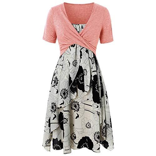 (TnaIolral Women Dresses Knot Bandage Top Sunflower Print Vest Summer Tank Blouse Tunic Suit (XXL, Pink))