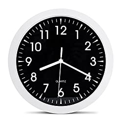 Egundo Metal Silent Wall Clock 10-inch Small Round Non Ticking Simple Modern Home Kitchen Living Room Analog Clock Battery Operation Decorative for Kids Friends White