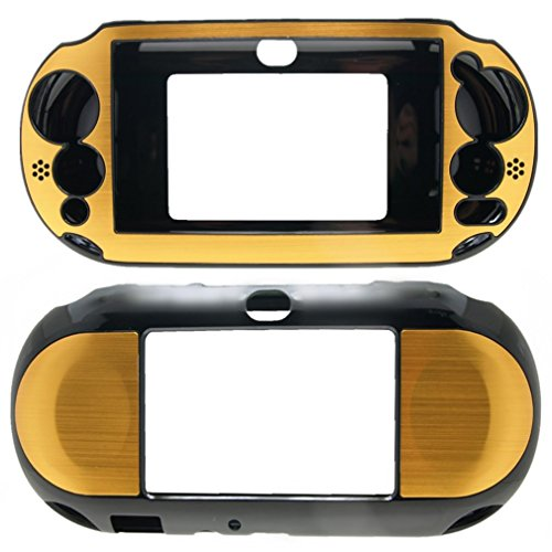PlayStation PS VITA PSVITA Slim 2000 Case Cover Hybrid Brushed Aluminum Metal Overlay Hard Plastic + Free Screen Protector (2nd Generation, PCH-2xxx Version Only) - Gold Psp Case Go