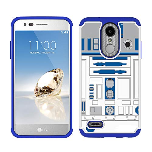 Tribute Dynasty/Fortune 2/Zone 4/Risio 3 Case - R2D2 Astromech Droid Robot Pattern Shockproof Hard PC and Inner Silicone Hybrid Dual Layer Armor Defender Case for LG K8 2018 ()