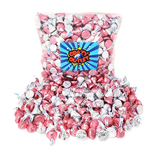 CrazyOutlet Pack - Hershey's Kisses Milk Chocolate Candy, Silver and Pink Foils Mix, Bulk Pack, 2 lbs