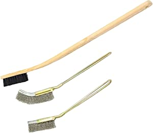 Bonaweite 3 Pack Wooden & Stainless Steel Long Handle Bird Cleaning Brush, Pet Supply Cage Accessory for Parrot Birds