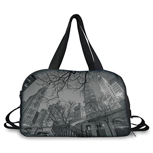 Travelling bag,Black and White Decorations,Chicago Downtown Night Highrise Buildings Tree Branches Decorative,Grey Black White ,Personalized by iPrint