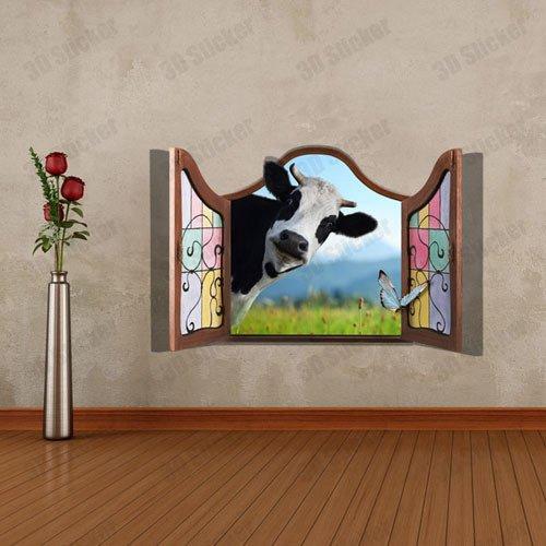 Ventana vaca falsos paisajes 3d impresora papel tapiz ...