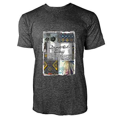 SINUS ART® Ethno Print mit Palmen Beautiful City Herren T-Shirts in dunkelgrau Fun Shirt mit tollen Aufdruck