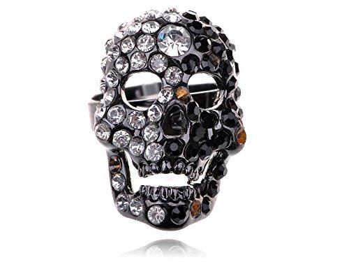 Alilang Mesmerizing Black Gun Metal Plated Crystal Rhinestone Skull Head Fashion Ring