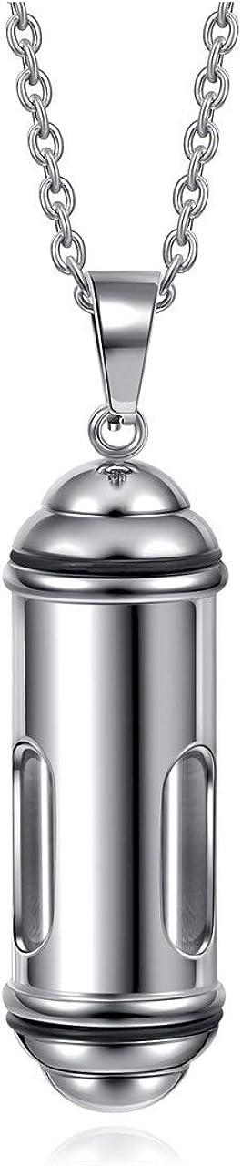 Jovivi Stainless Steel Urn Ashes Necklace Hair Locket Keepsake Glass Tube Openable Bottle Cylinder Pendant Memorial Cremation Jewelry Men Women