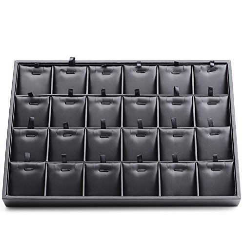 Oirlv Black Leather 24 Grids Inserts Jewelry Tray Pendant Earrings Showcase Display Organizer