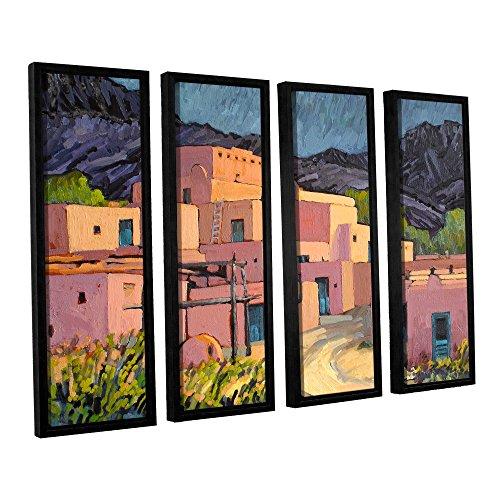 ArtWall Rick Kersten's Taos Pueblo 4-Piece Floater Framed Canvas Set, 36 by 48-Inch