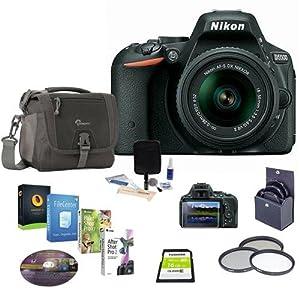 Nikon D5500 DSLR Camera Kit with AF-S DX NIKKOR 18-55mm f/3.5-5.6G VR II Lens, Black - Bundle w/16GB SDHC Card, 52mm Filter Kit, Camera Bag, Cleaning Kit, Software Package
