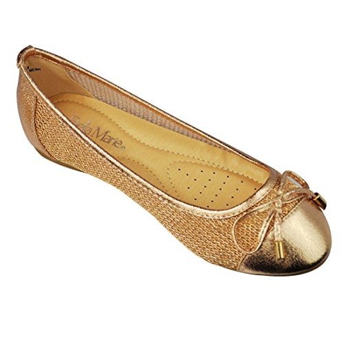 Cap Toe Bow - ANNA Womens Chain Mesh Ballerina Cap Toe with Bow Tie Ballet Flat Deon 08 Footware Color Champagne Size 6