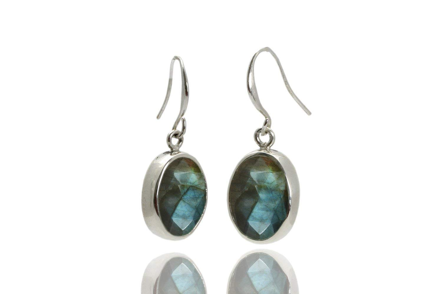 Tempting 100/% Natural Labradorite Oval Shape Ethnic Style Handmade Jewelry 925 Sterling Silver Dangle Earrings 4.6 gms 13X6 mm 1.7 BL-158