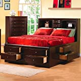 Coaster Home Furnishings  Phoenix Modern Transitional Ten Drawer Platform Storage Bed with Bookcase Headboard ( No Box Spring Needed ) - Eastern King - Deep Cappuccino