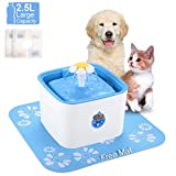 Pet Water Fountain LOETAD 2.5L Cat Fountain with 2 Carbon Filters and Silicone Mat for Dogs and Cats