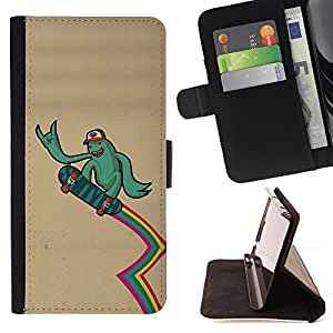DEVIL CASE - FOR Samsung Galaxy A3 - Green Monster Alien Skateboard Rainbow Lgbt - Style PU Leather Case Wallet Flip Stand Flap Closure Cover