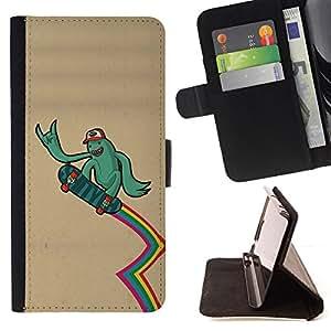 BullDog Case - FOR/LG OPTIMUS L90 / - / green monster alien skateboard rainbow lgbt /- Monedero de cuero de la PU Llevar cubierta de la caja con el ID Credit Card Slots Flip funda de cuer