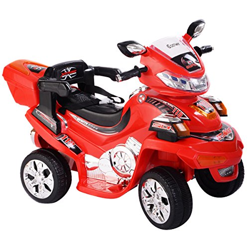 Motorcycle Cop Costumes (4 Wheel Kids Ride On Motorcycle 6V Battery Powered RC Electric Toy Power Bicycle + FREE E-Book)