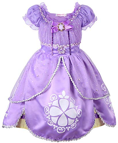 MOREMOO Little Girls Role Play Princess Costume Luxurious Kids Dress(Purple 6/Fits for 5 Years) ()