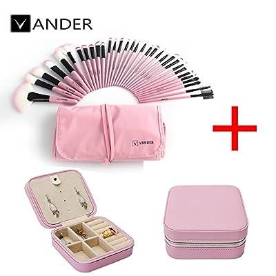 32pcs Vander Professional Soft Vander SCI Cosmetics Blue Eyebrow Shadow Makeup Brush Set Kit + Pouch Bag