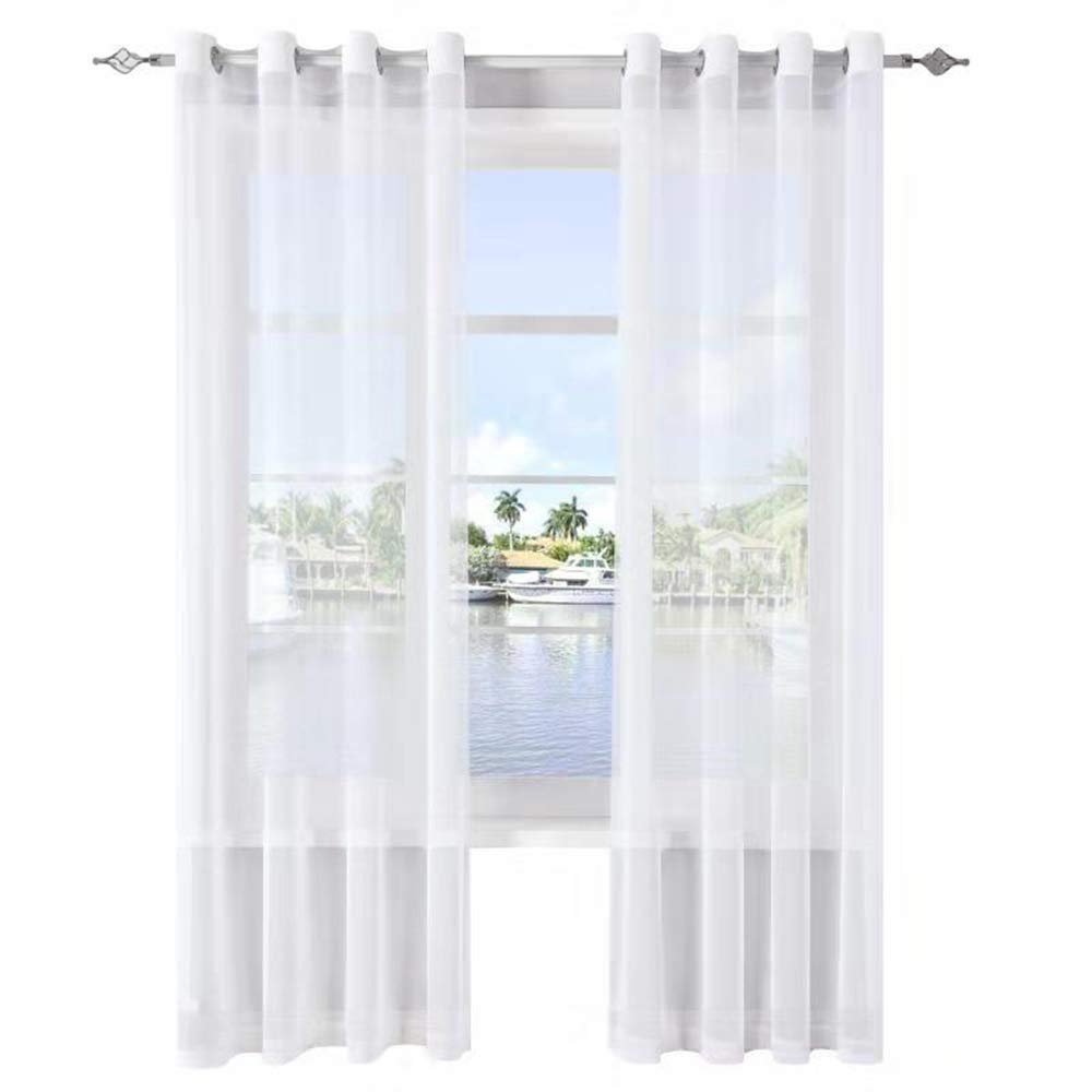 DWCN Sheer Curtains Beige Grommet Window Curtain Panels Voile Sheer Bedroom Curtains, Set of 2, 52 x 45 inch Long,