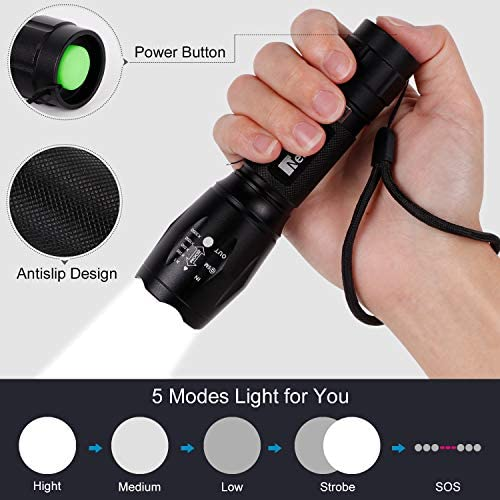 Linterna LED Recargable 2000Lumen Alta Potencia T6 de enfoque ajustable portátil resistente al agua Camping linterna 5 Modo de luz, 2 x Batería incluidas,Carga USB[Clase de eficiencia energética A]