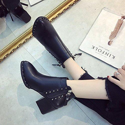 alto stivali 39 nero Tacco lato opaco 817 stivali alto punta Black Versatile e con femmina tacco qwSaSRd