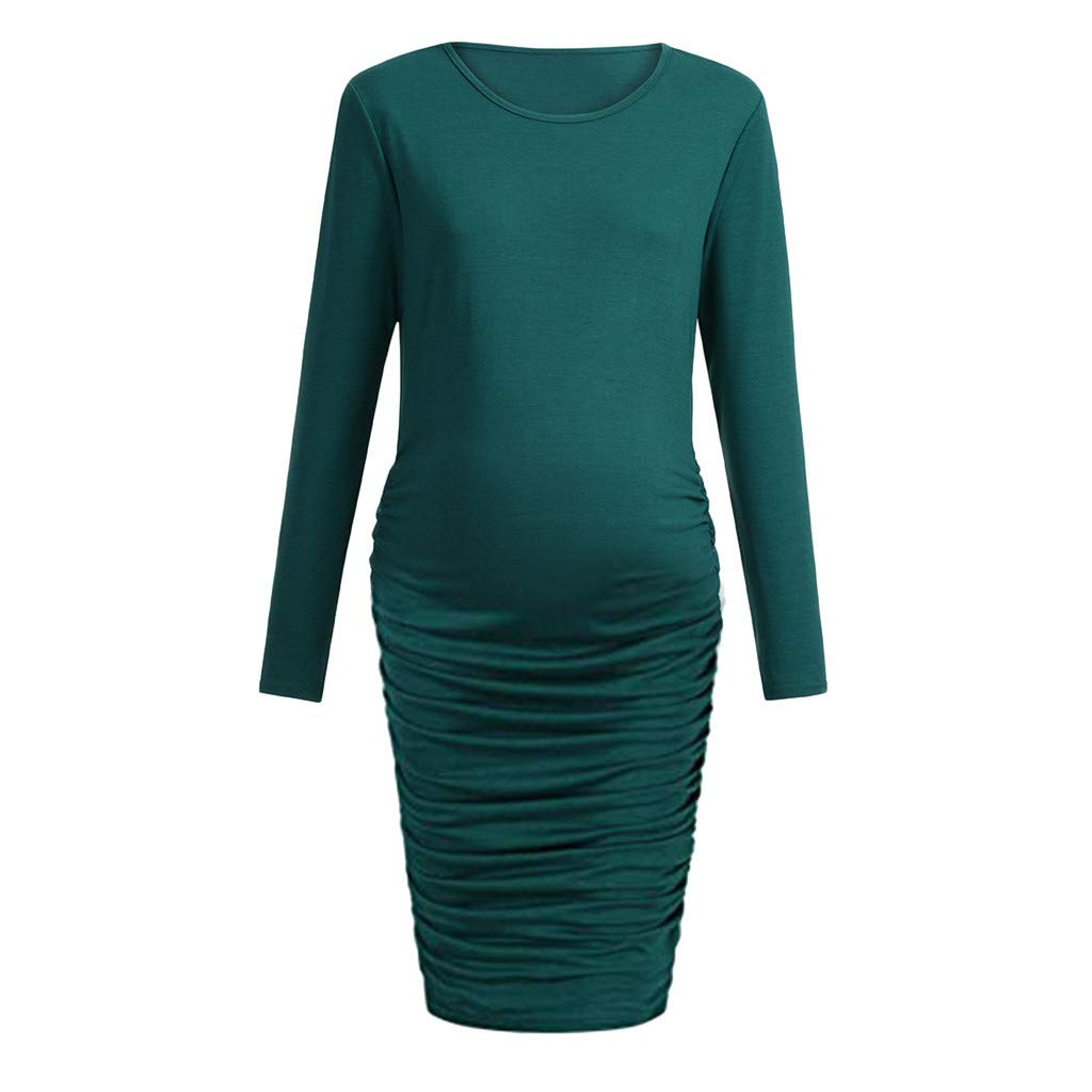 Women Pregnant Bodycon Maternity Solid Side Ruched Dress Long Sleeve Nursing Dresses Clothes (M, Green)