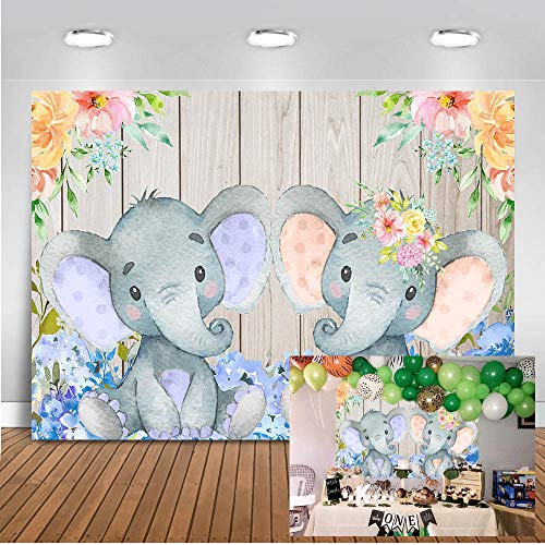 Mocsicka Twin Elephant Baby Shower Backdrop 7x5ft Boy or Girl Gender Reveal Background Wooden Wall Photo Backdrops Cute Elephant Floral Birthday Party Photography Background ()