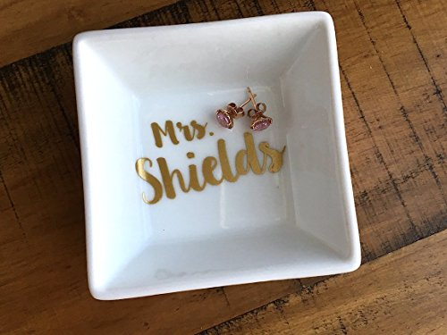 Personalized Name Ring Dish - Engagement Gift - Newly Engaged - Mrs. Jewelry Holder