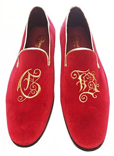 Garofalo Gianbattista scarpe uomo in velluto damascato con ricamo personalizzato