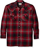 Ely & Walker Men's Long Sleeve Quilted Flannel Shirt Jacket, red, X-Large