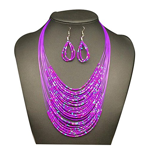 Korean National Costume Female (Darkey Wang Woman Fashion Bohemian Braided Multilayer Beaded Necklace Earrings Set(Purple))