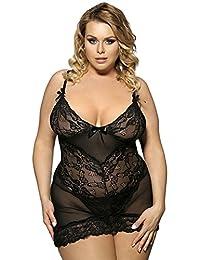 Vivilover Women Plus Size Sexy Babydoll Two Pieces Nightwear Mesh Lace Lingerie Set