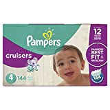 Pampers Cruisers Disposable Baby Diapers Size 4, Economy Pack Plus, 144 Count