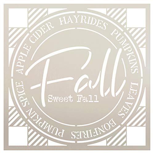 Fall Sweet Fall Buffalo Plaid Stencil by StudioR12 | Painting Wood Sign | Furniture Totes Fabric | Apple Cider Bonfire Pumpkin Pattern | Diagonal Square Pattern | DIY Home Decor - Choose (12