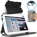 MoKo Slim-Fit Multi-angle Folio Cover Case for Samsung Galaxy Note 8.0 inch GT - N5100 / N5110 Android Tablet, BLACK (with Auto Wake/Sleep Function, and Integrated Hand Strap)