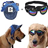 Bestag 2 Pcs/pack Adjustable Outdoor Sports Sun Protection Hat Cap and Sunglasses for Medium Dog (Blue/Black)