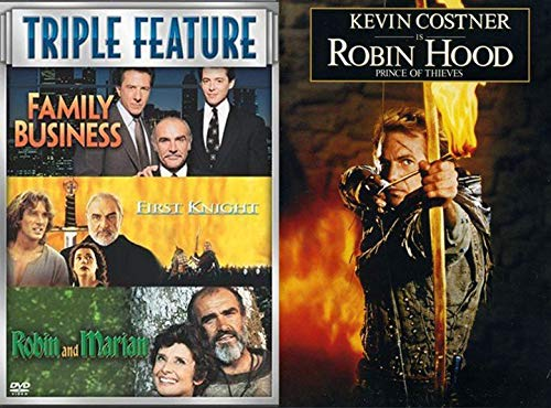 Nottingham Robin Hood Prince of Thieves & Connery Collection First Knight / Family Business & Robin and Marian 4 Film Sean & Kevin Costner DVD Movie Bundle