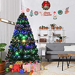 Goplus 6FT Artificial Christmas Tree Pre-Lit Optical Fiber Tree 8 Flash Modes W/ UL Certified Multicolored LED Lights & Metal Stand