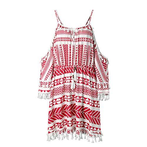 NIKAIRALEY Dress Womens Summer Cold Shoulder Boho Printed Spaghettic Strap Casual Loose Tassel Short Beach Dresses Sundress Red