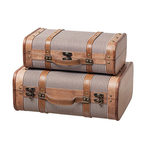 (SLPR Decorative Suitcase with Straps (Set of 2, Striped) | Old-Fashioned Antique Vintage Style Nesting Trunks for Shelf Home Decor Birthday Parties Wedding Decoration Displays Crafts)