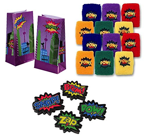 U.S. Toy Superhero Party Accessories | Erasers, Paper Bags, Wristbands | Great for Comics Themed Party, Kids Birthday Party, Dress-Up Party