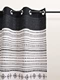 VLiving Black and white curtain Panel, cabana print, cotton voile, printed curtain, Sheer, sizes available (52x63)