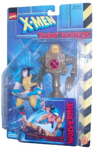 - Marvel Comics Year 1997 X-Men Robot Fighters 4-1/2 Inch Tall Action Figure - WOLVERINE with Sabretooth Droid